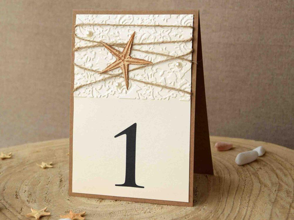 Embossed Starfish Table Numbers