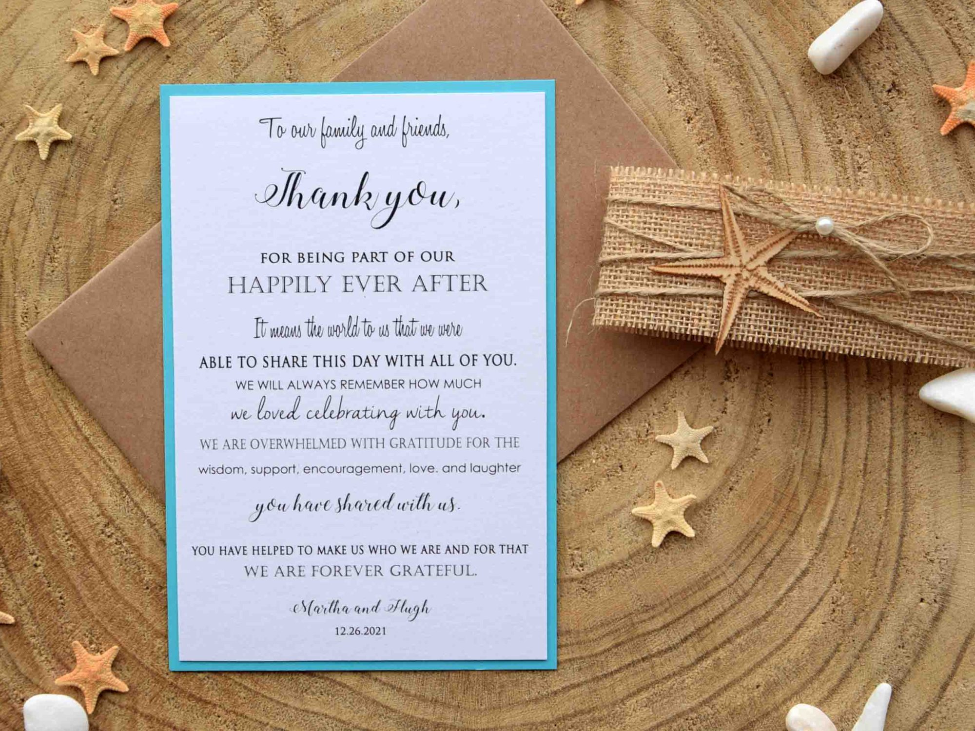 Rustic Beach Thank You Notes