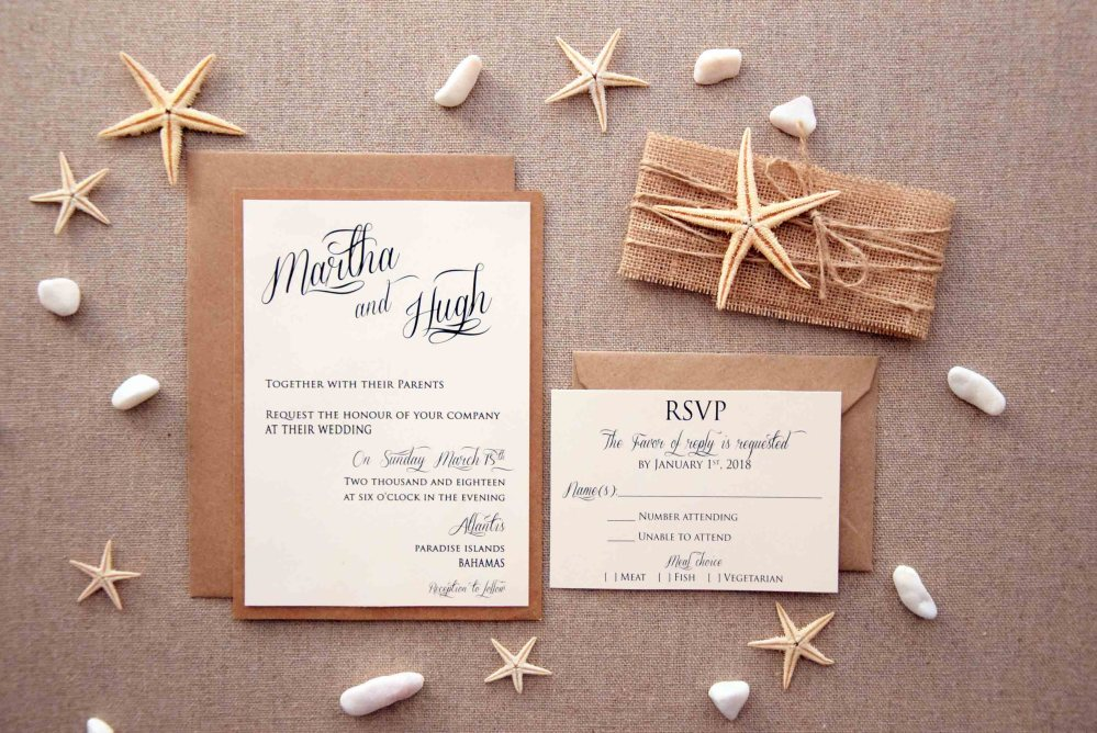 Simple Beach Wedding Invitations