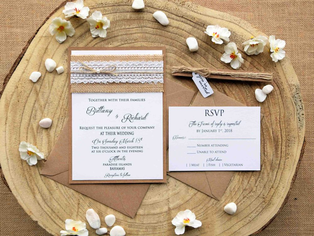 Burlap Lace Wedding Invites