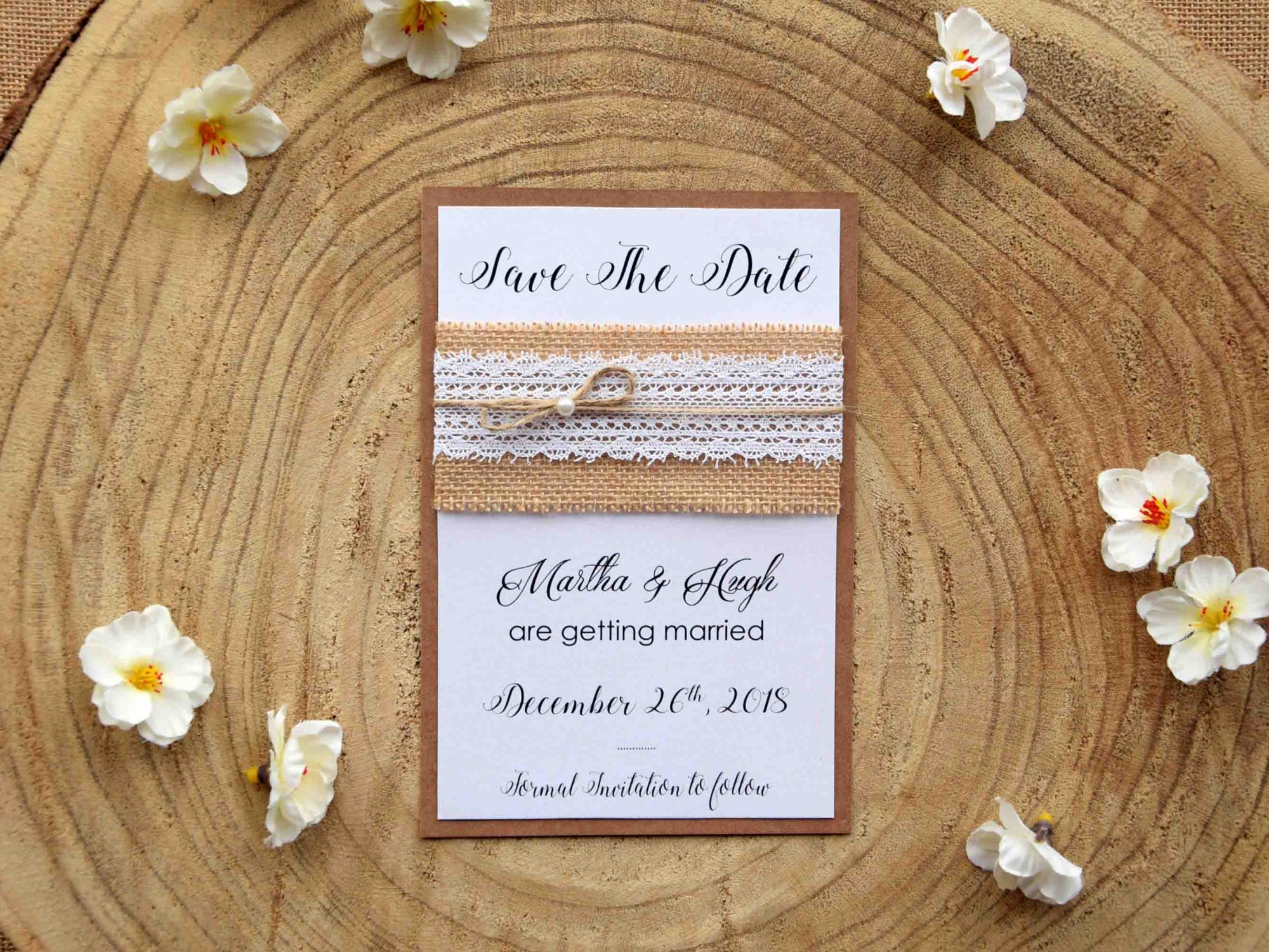 Lace Save The Date Wedding Cards