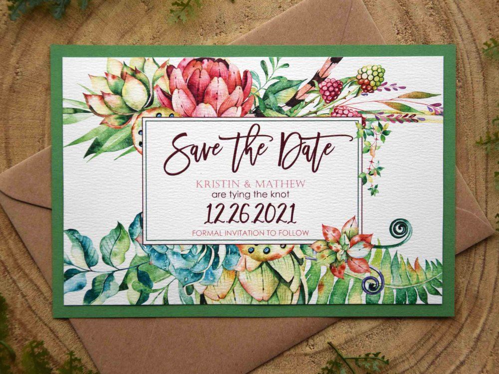 Tropical Wedding Save The Date Cards