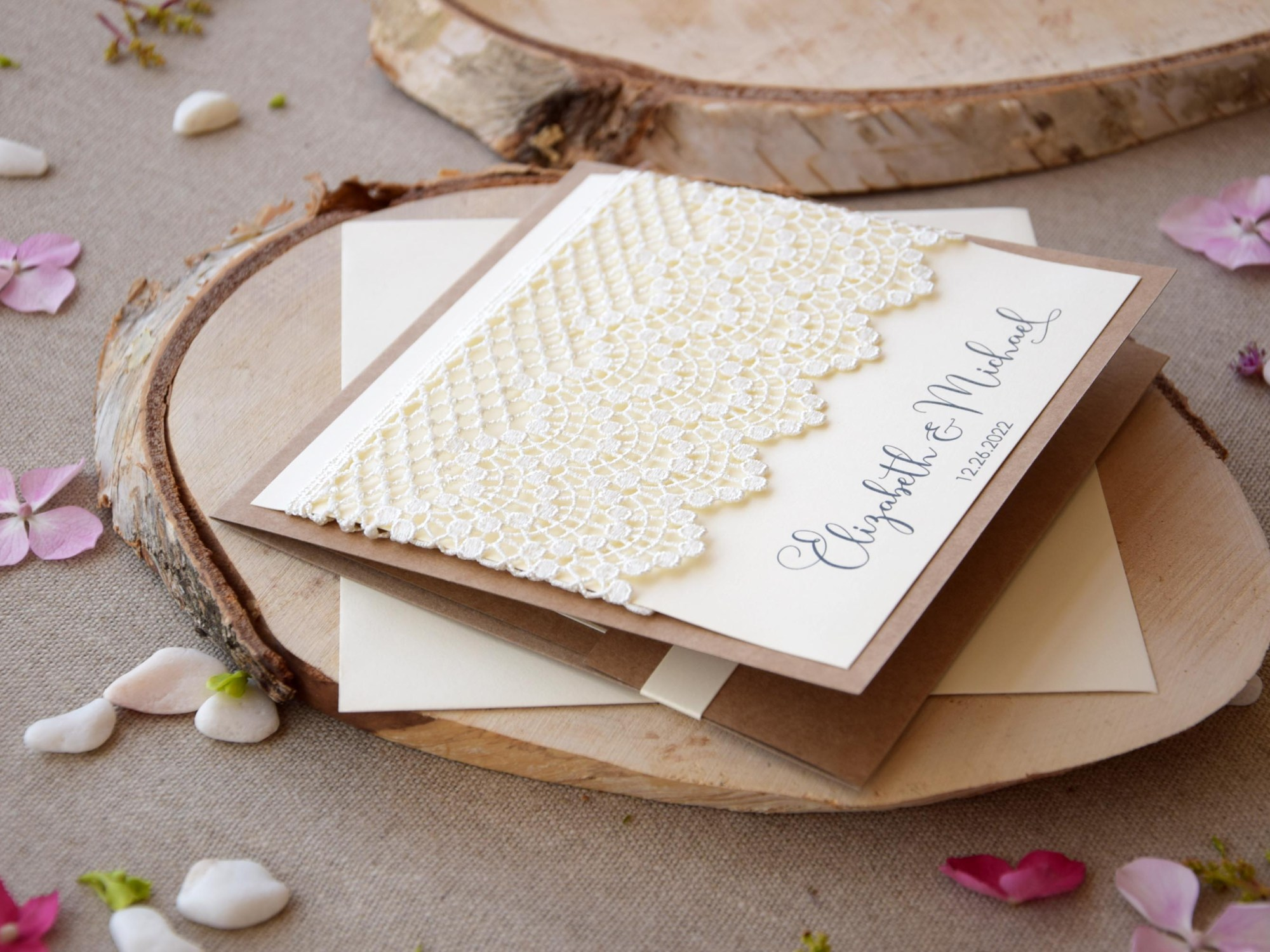 Custom Lace Wedding Invitations