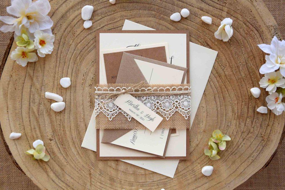 Burlap and Lace Wedding Invitations Kit
