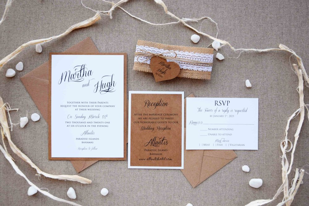 Rustic Lace Wedding Invites