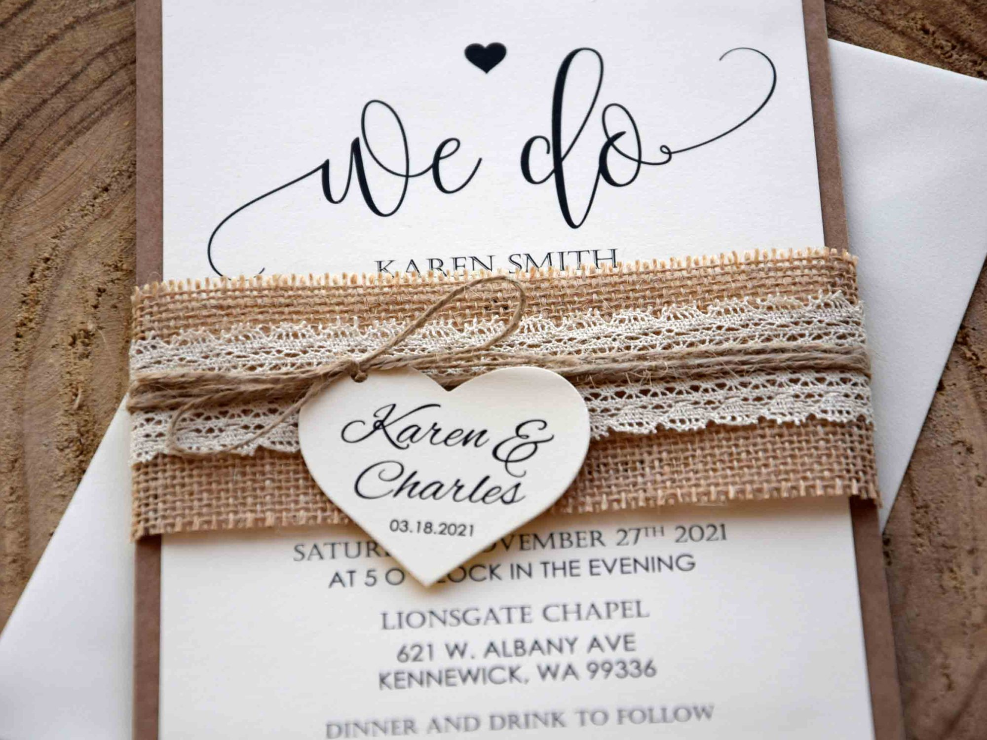 Lace Wedding Invitations Kit
