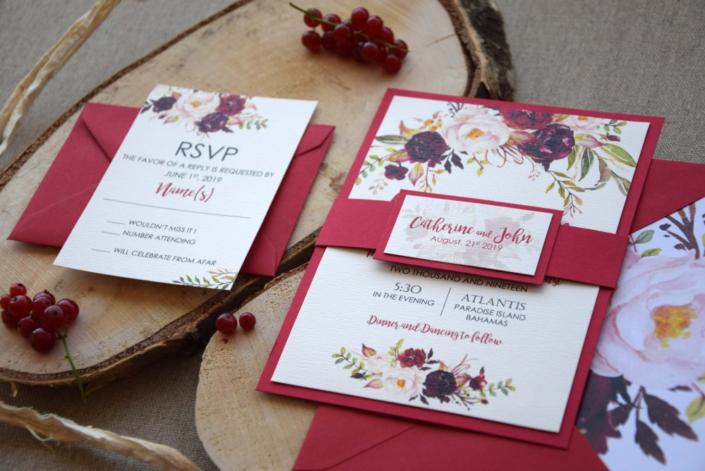 Autumn Shabby Chic Wedding Invitations, Floral Wedding Invitations