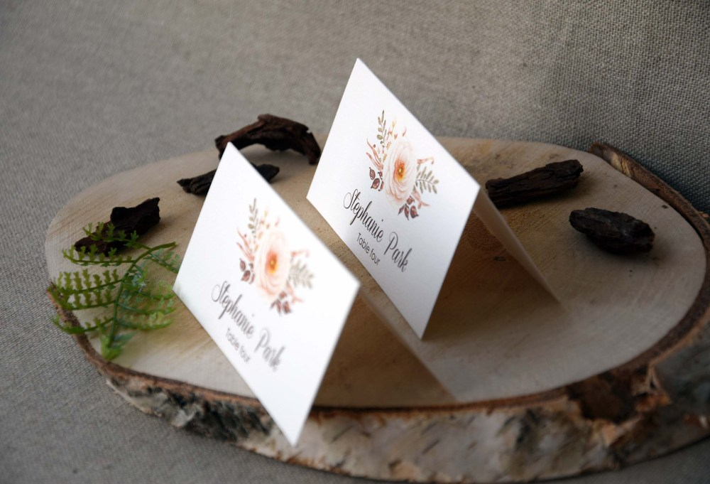 Fall Watercolor Simple Wedding Place Cards
