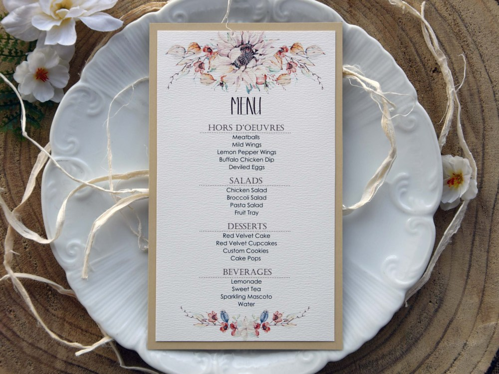 Autumn Floral Wedding Dinner Menu