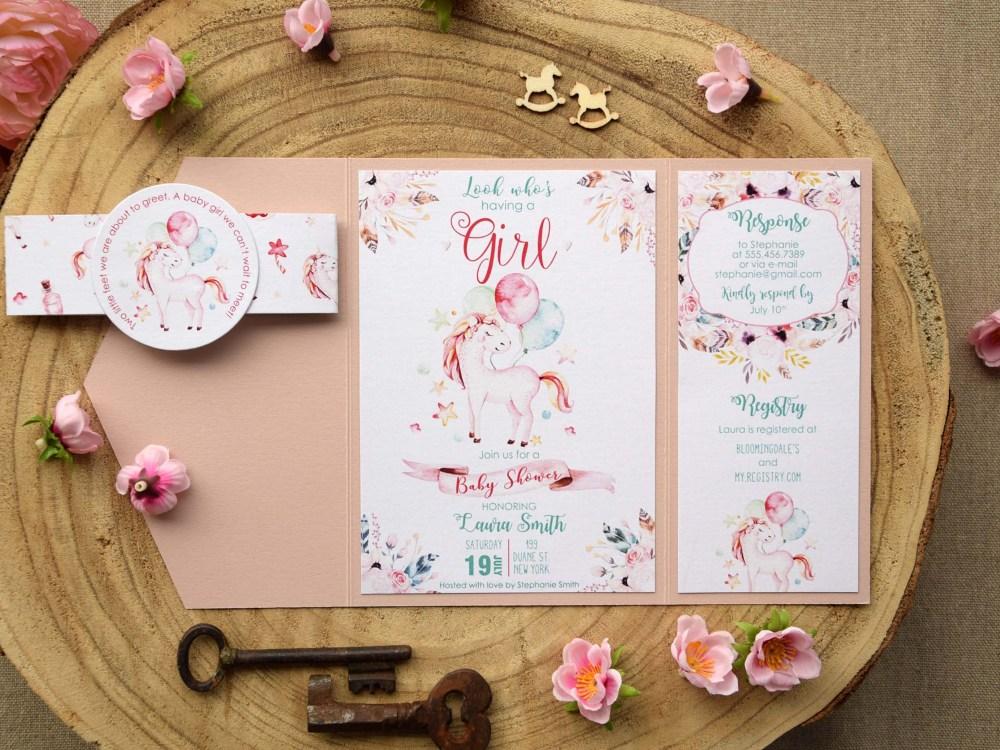 Unicorn Baby Shower Invitations For Girls Pink Baby Shower Invitations