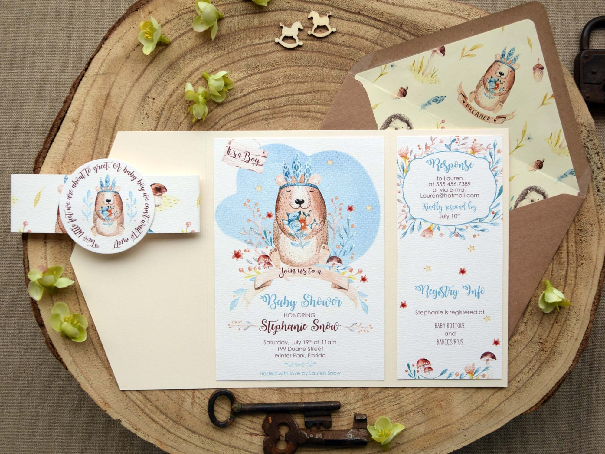 Pocket Baby Shower Invitations for Boys