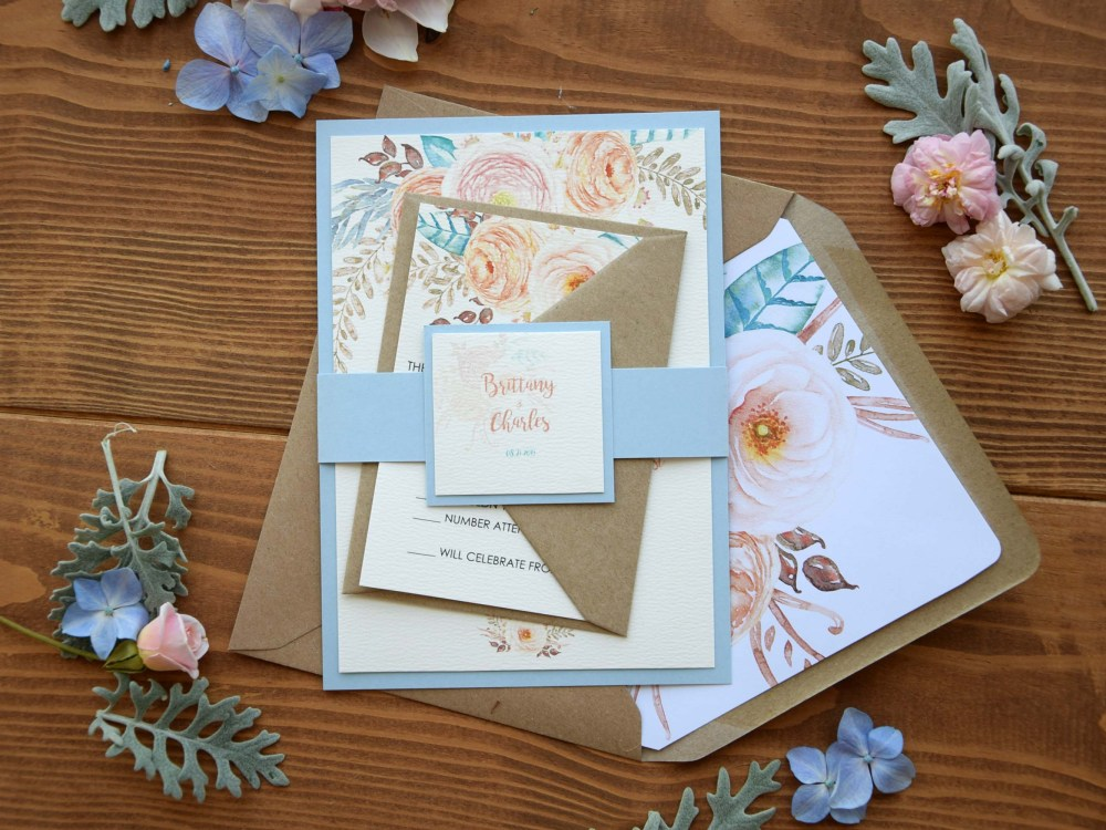 Simple Rustic Blue Wedding Invitations