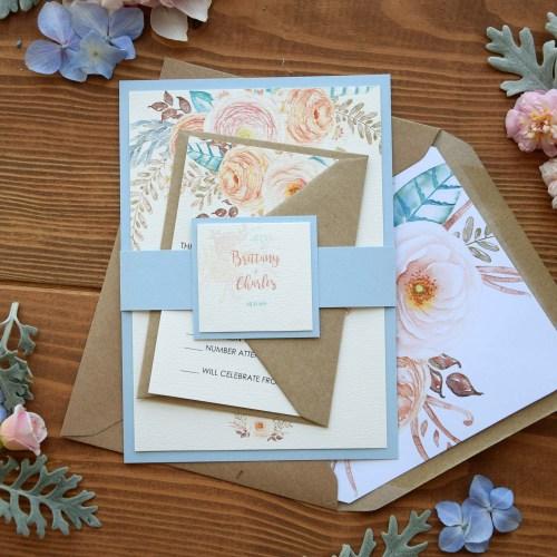 Simple Rustic Blue Wedding Invitations