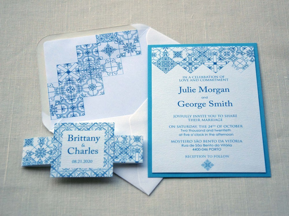 Turquoise Tile Wedding Invitations