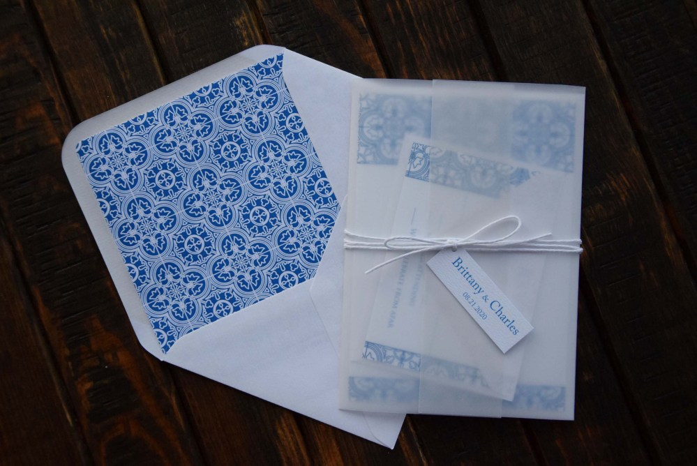 Wrapped Blue Tile Wedding Invitations