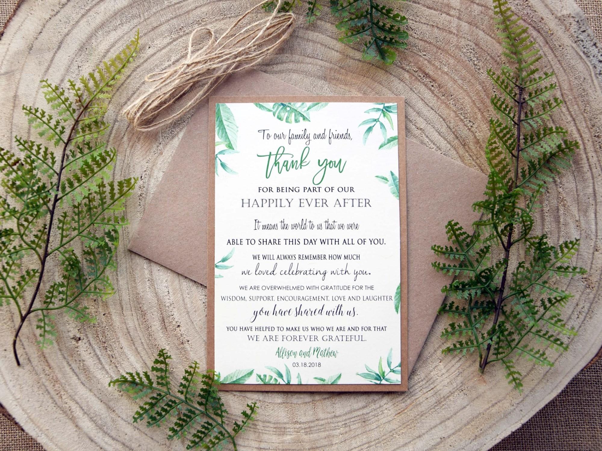 Botanical Watercolor Wedding Thank You Cards