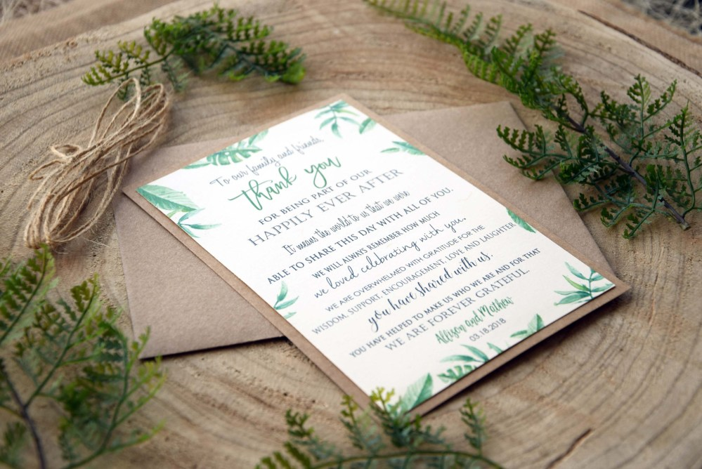 Botanical Watercolor Wedding Thank You Cards