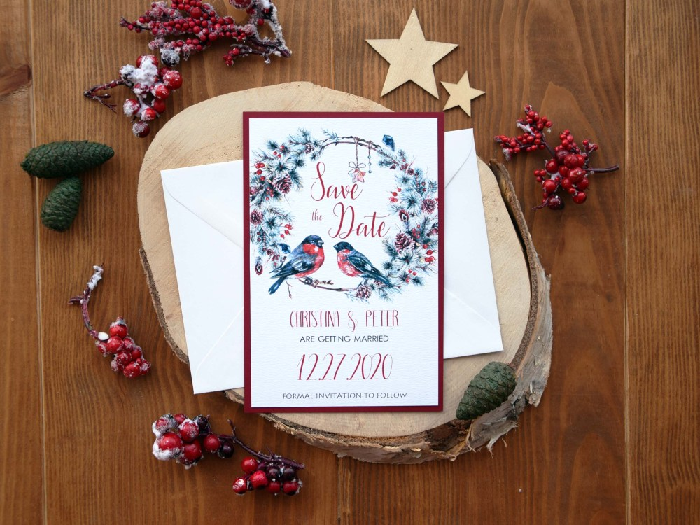 Christmas Wedding Save the Date Cards