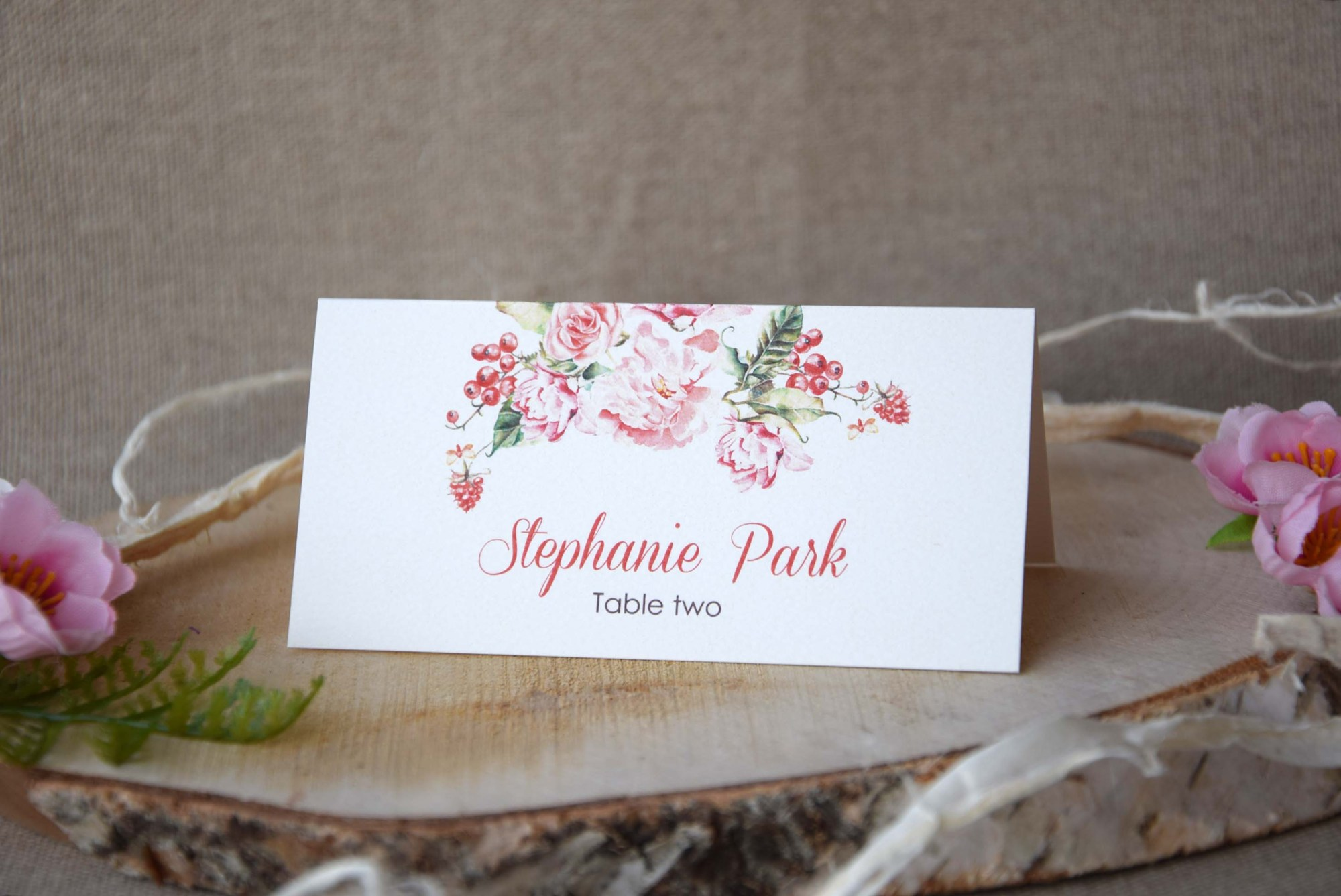 Colorful Watercolor Simple Wedding Place Cards