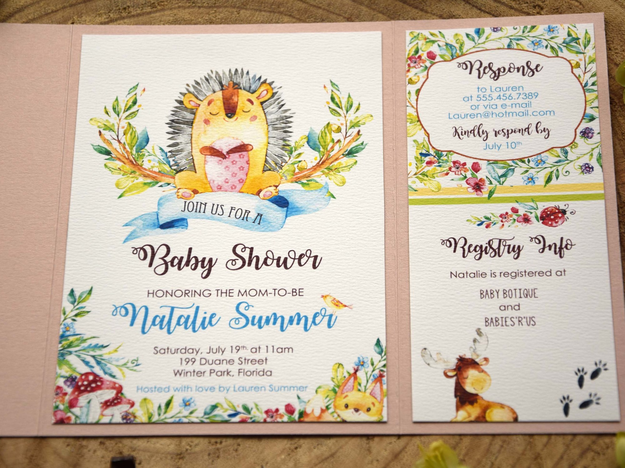 Unique Baby Shower Invitation Cards Woodland Baby Girl Baby Shower