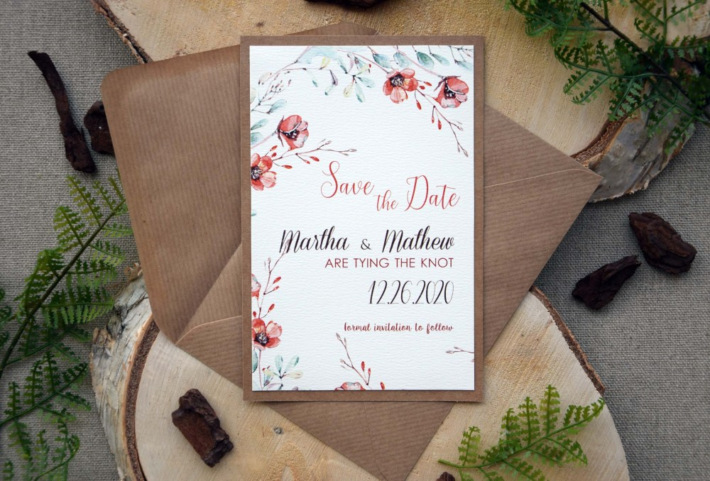Fall Floral Save the Date Wedding Cards