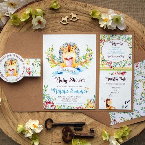 Jungle Rustic Baby Shower Invitations