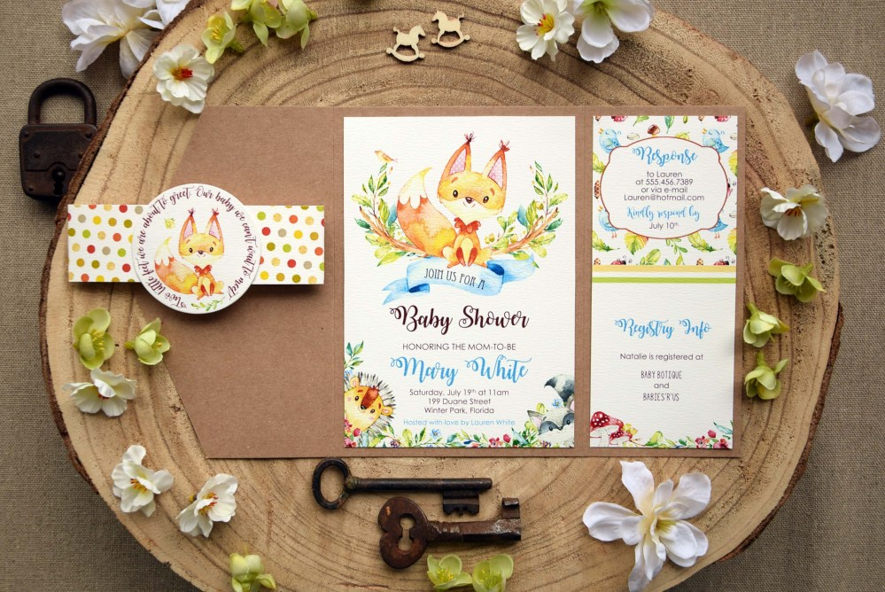 Jungle Theme Baby Shower Invitations, Pocket Baby Shower Invitations