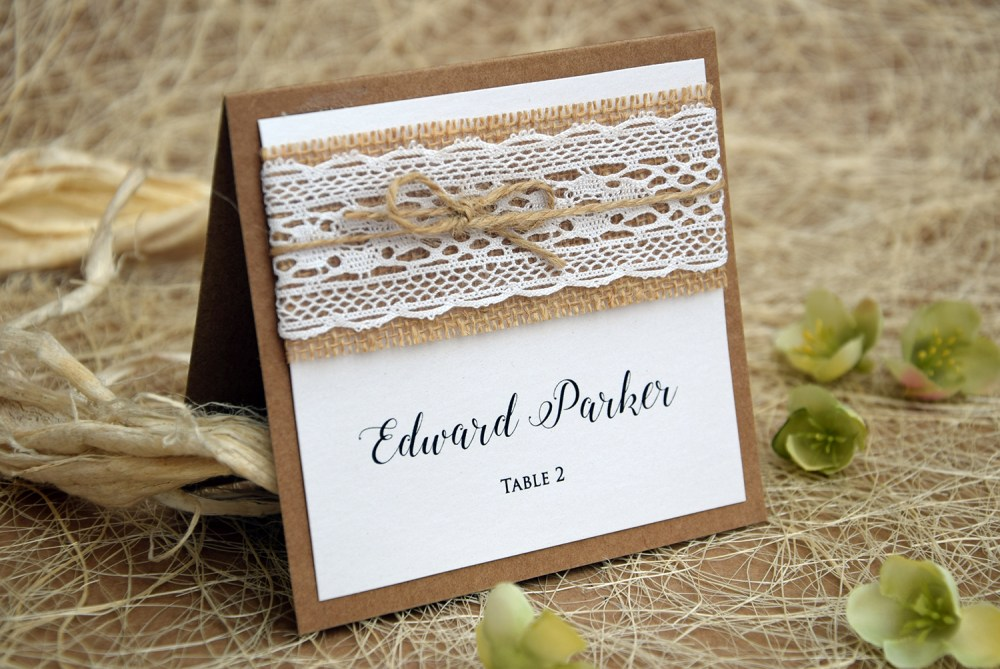 White Lace Wedding Place Cards