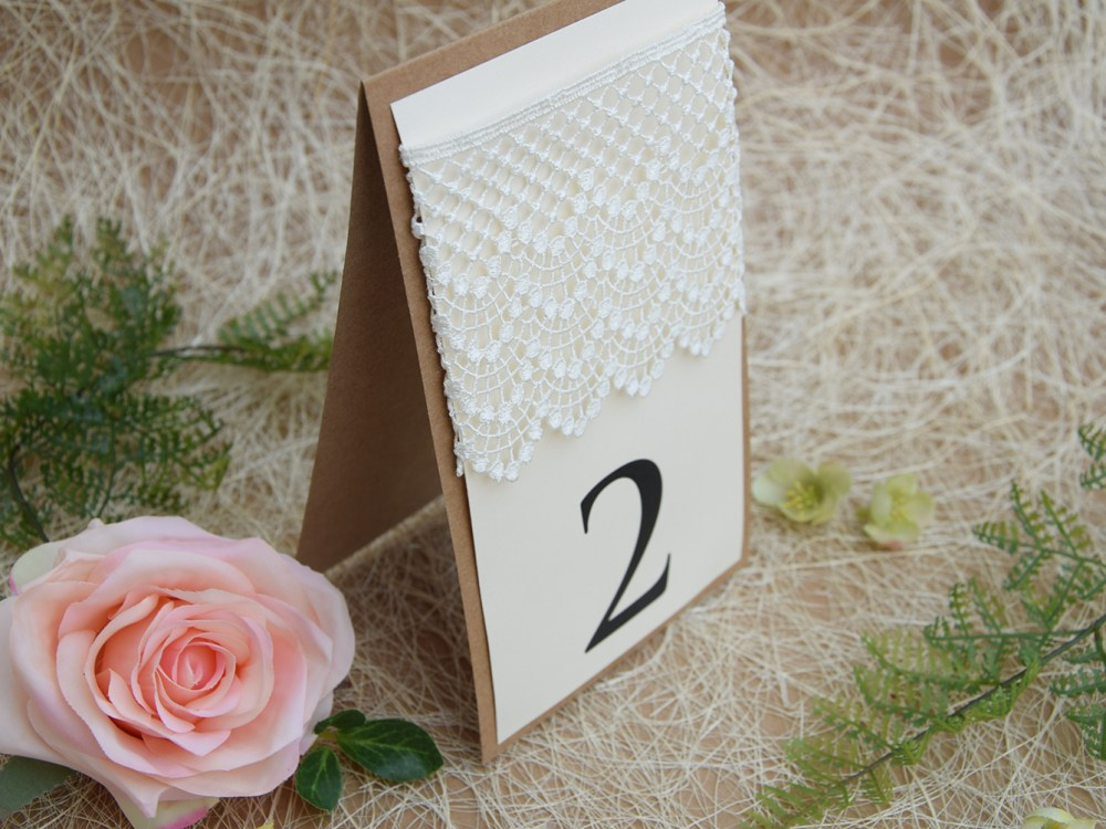Large Lace Wedding Table Numbers