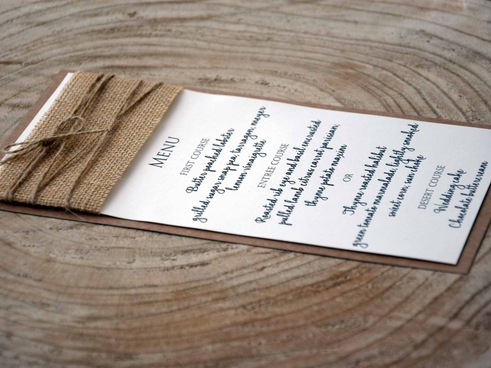 Rustic Simple Burlap Dinner Menu