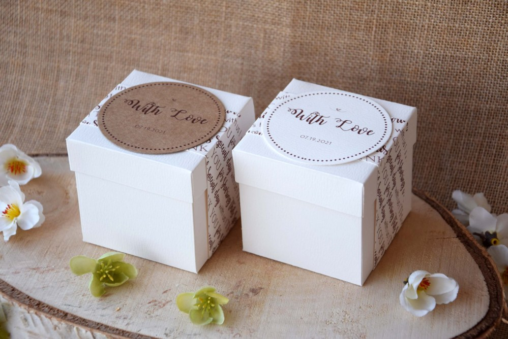 Personalized Square Wedding Favor Boxes White Party Favor Boxes