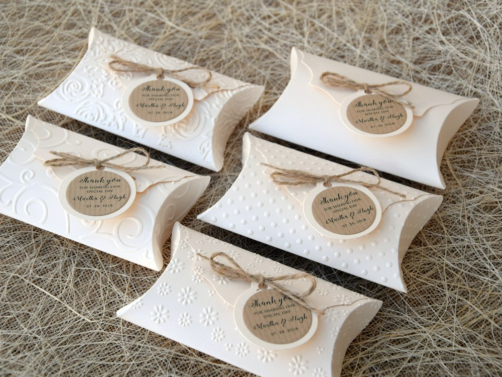 Unique Wedding Favor Pillow Boxes Wedding Gift Boxes Ivory Gift Boxes