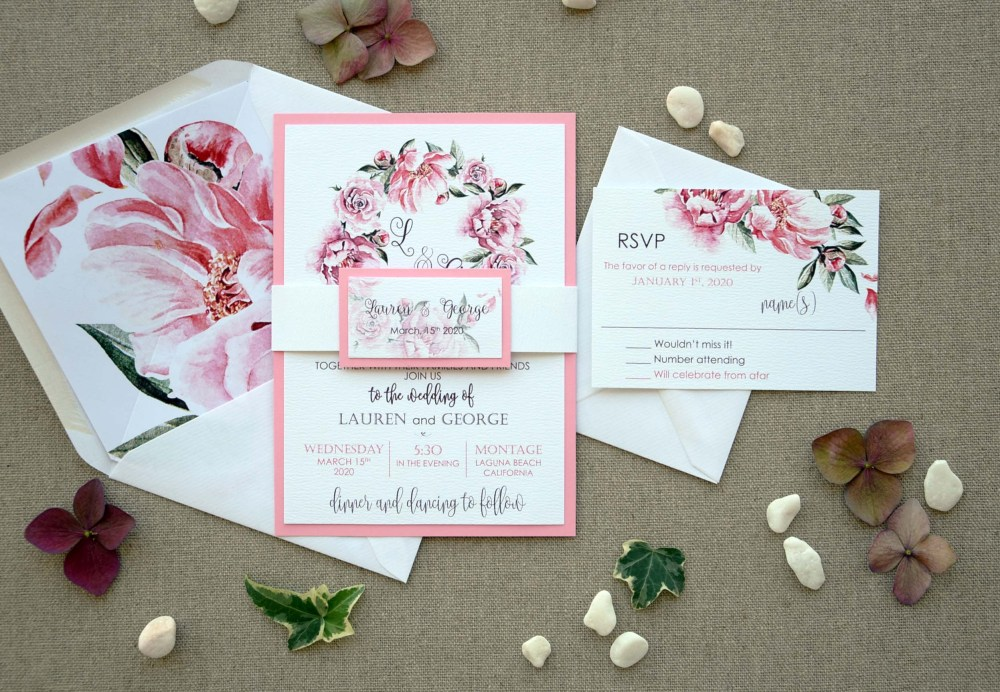 Floral Garden Wedding Invitations, Elegant Pink Wedding Invitations
