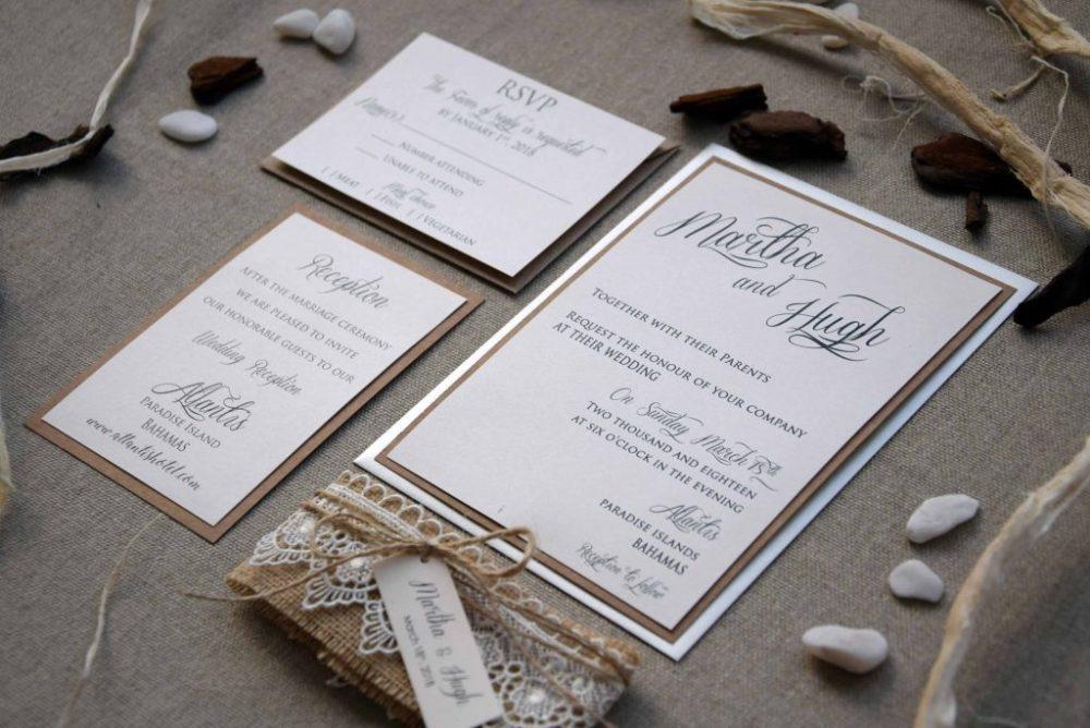 Burlap and Lace Wedding Invitations Kit, Personalized Wedding ...
