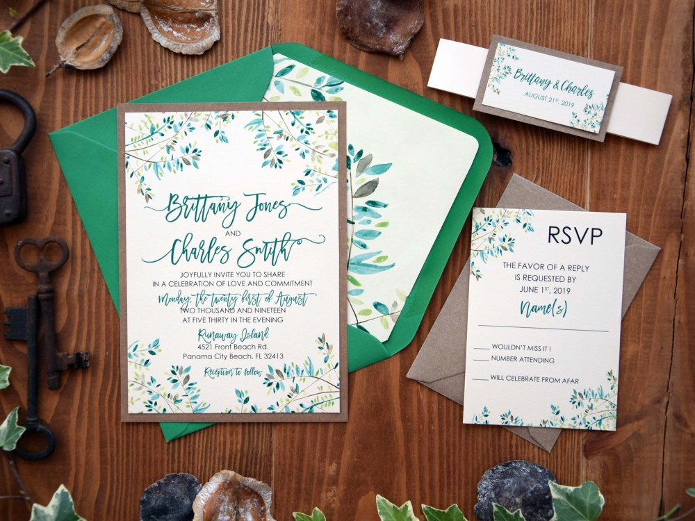 Rustic Nature Green Wedding Invitations