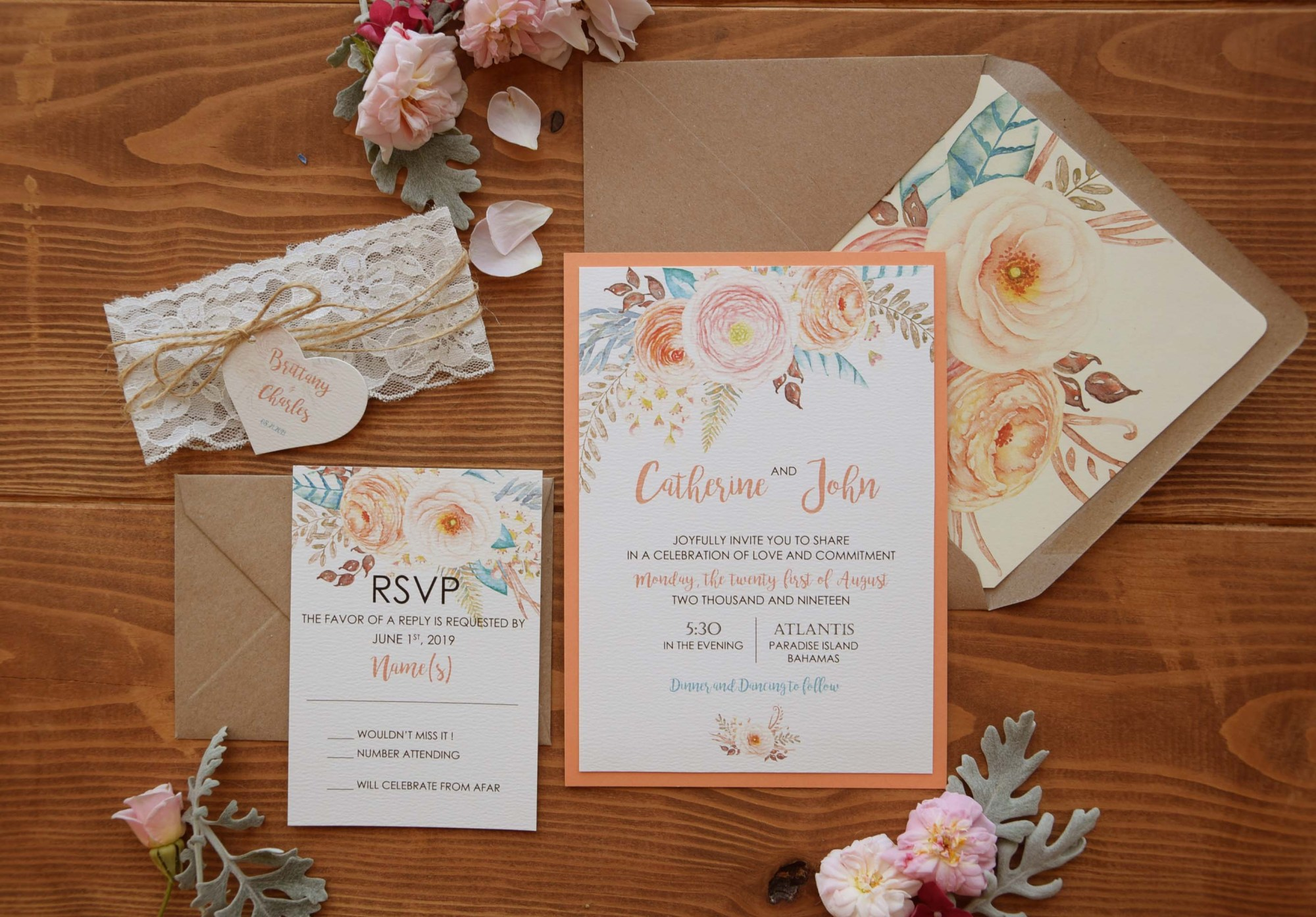 Rustic Chic Lace Floral Wedding Invitations