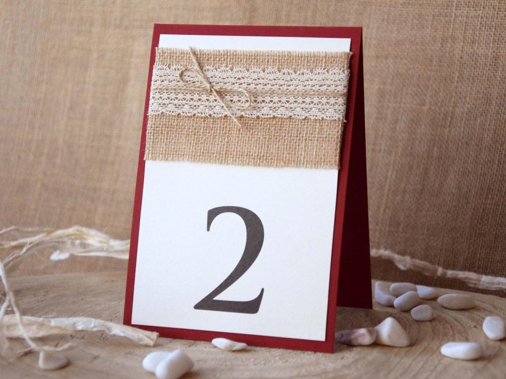 Burgundy Lace Table Numbers