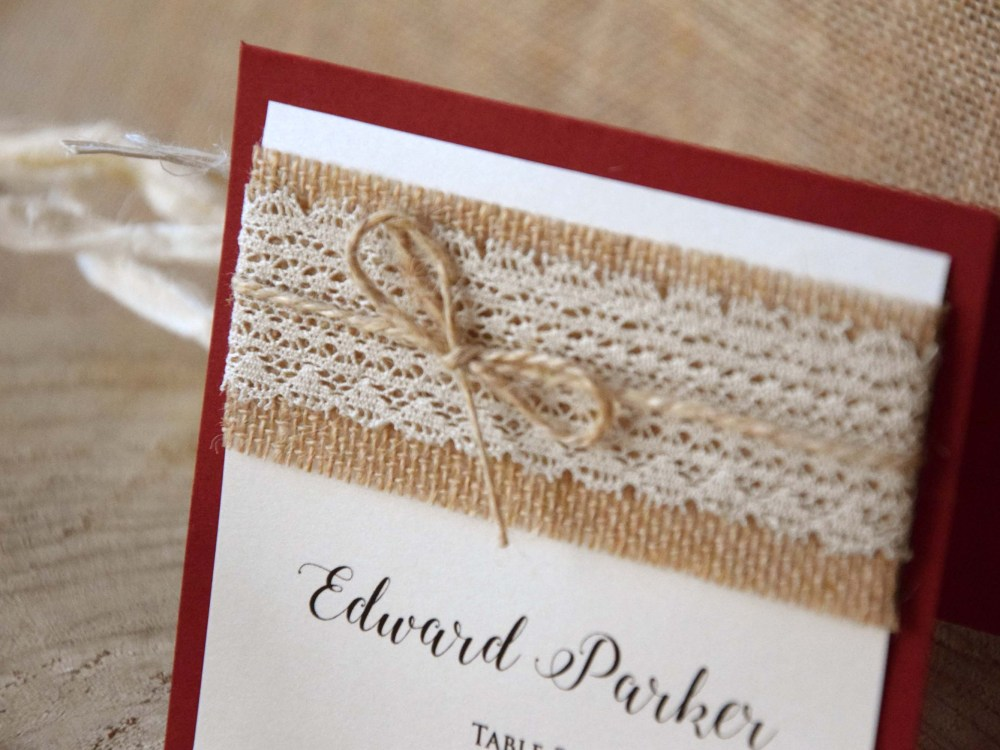 Burgundy Rustic Wedding Place Cards