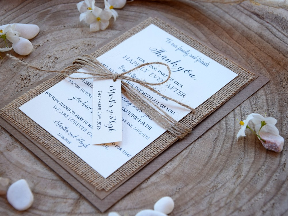 Burlap Personalized Thank You Cards