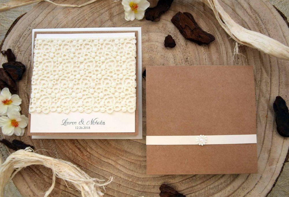 Lace Pocketfold Invites
