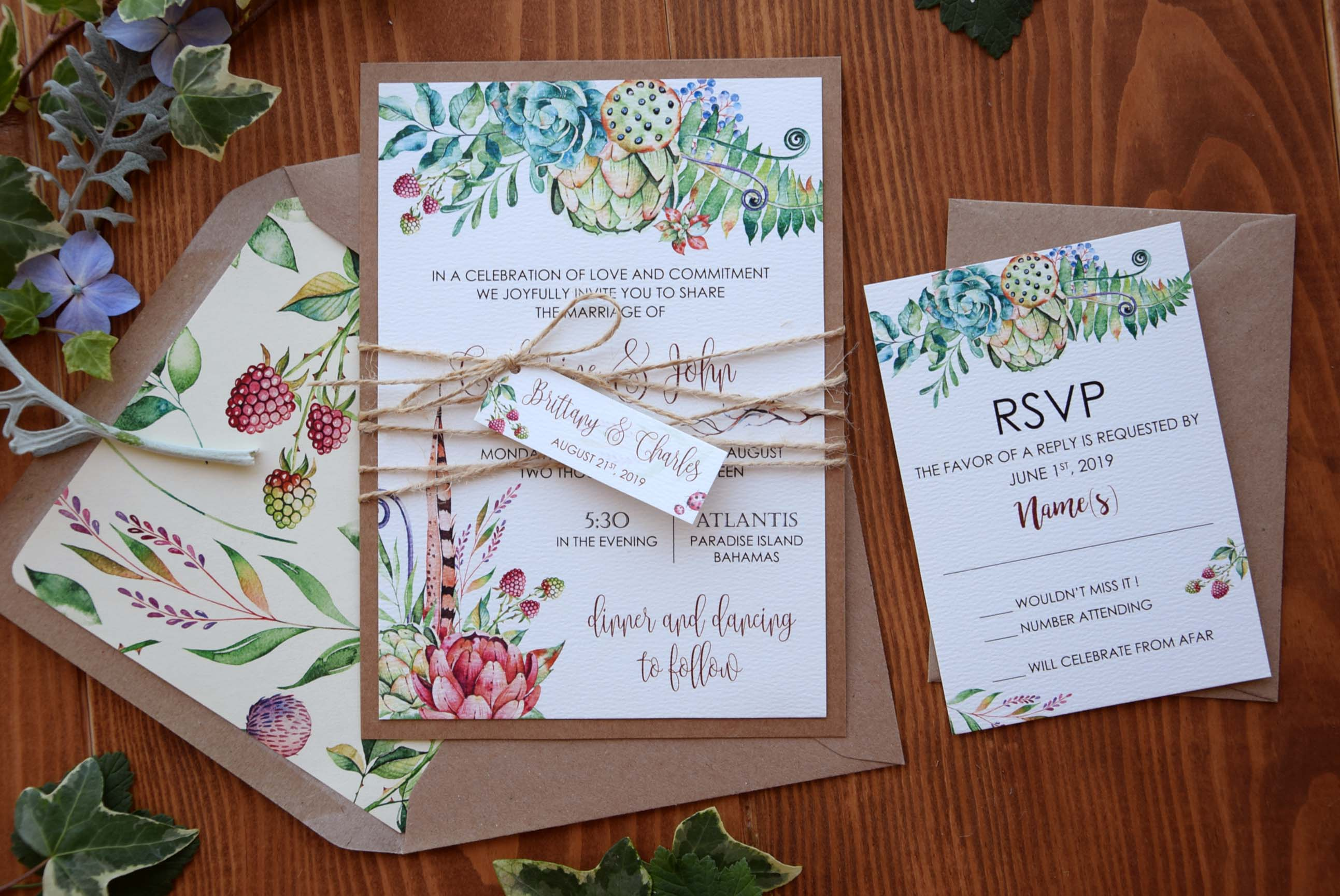 Spring Tropical Wedding Invitations Unique Rustic Wedding Invitations