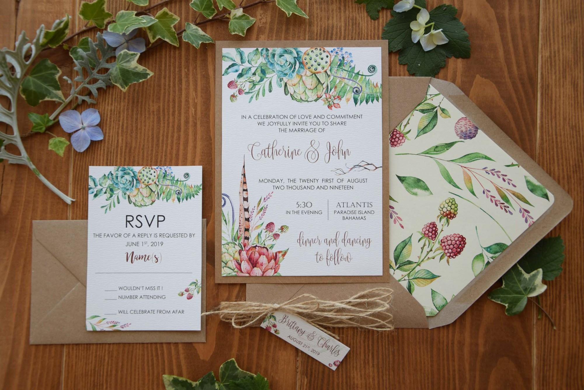 Spring Tropical Wedding Invitations