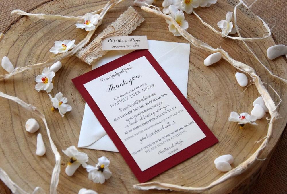 Burgundy Wedding Thank You Cards
