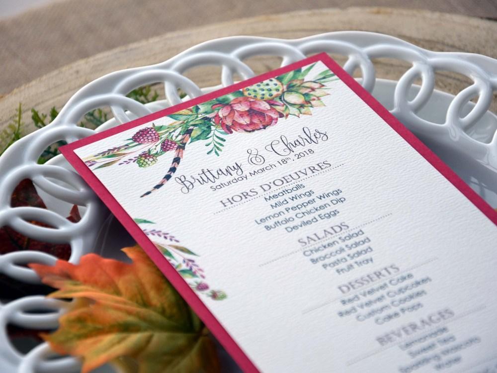 Tropical Wedding Dinner Menu