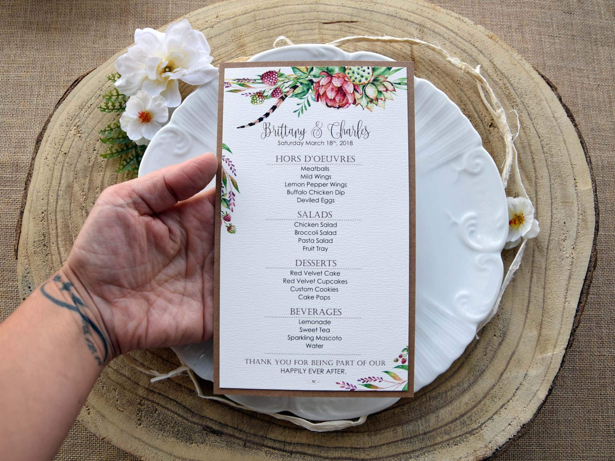Green Watercolor Wedding Dinner Menu