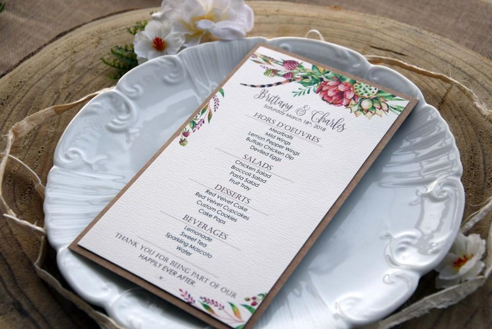 Green Watercolor Wedding Dinner Menu