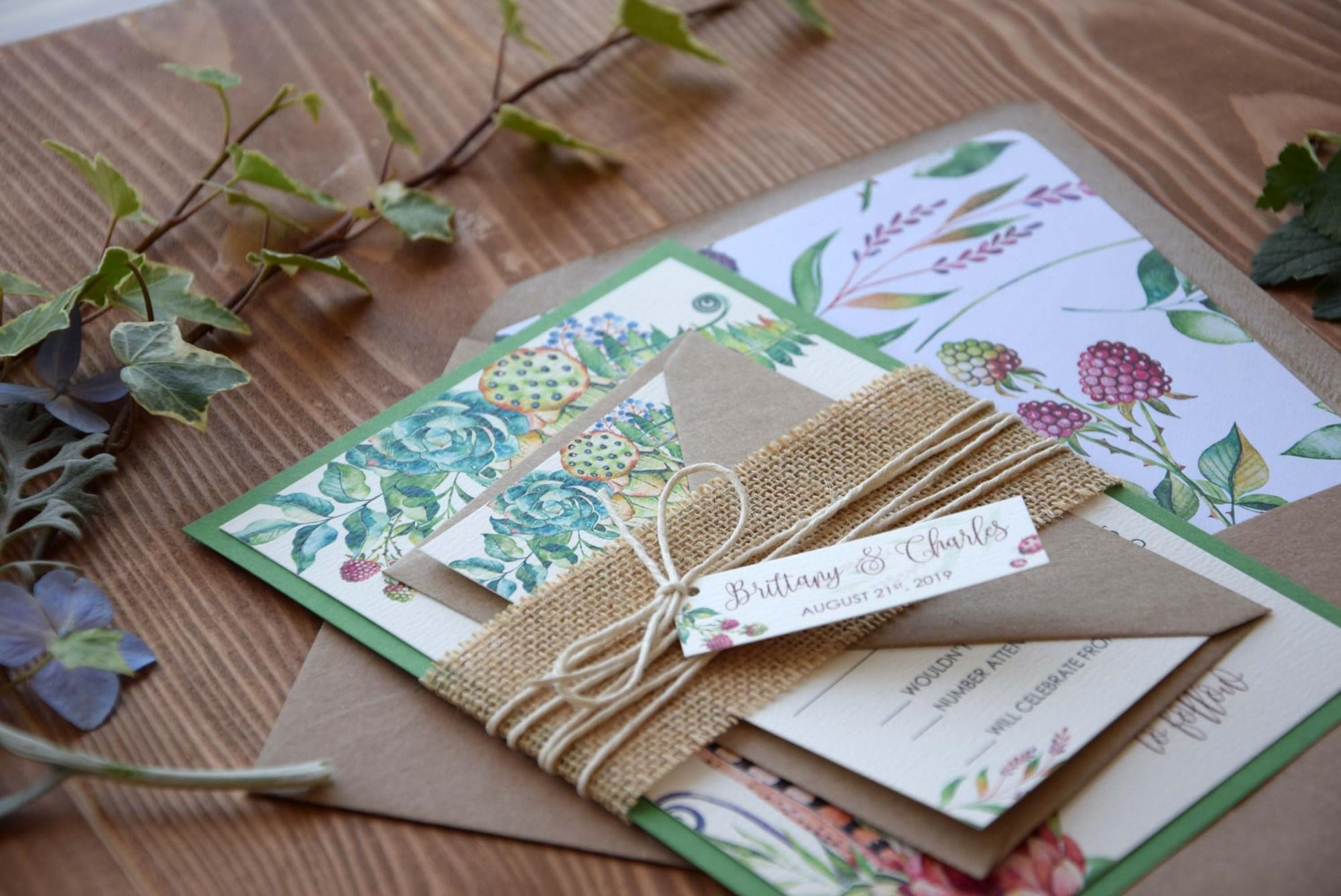 Watercolor Greenery Wedding Invitations