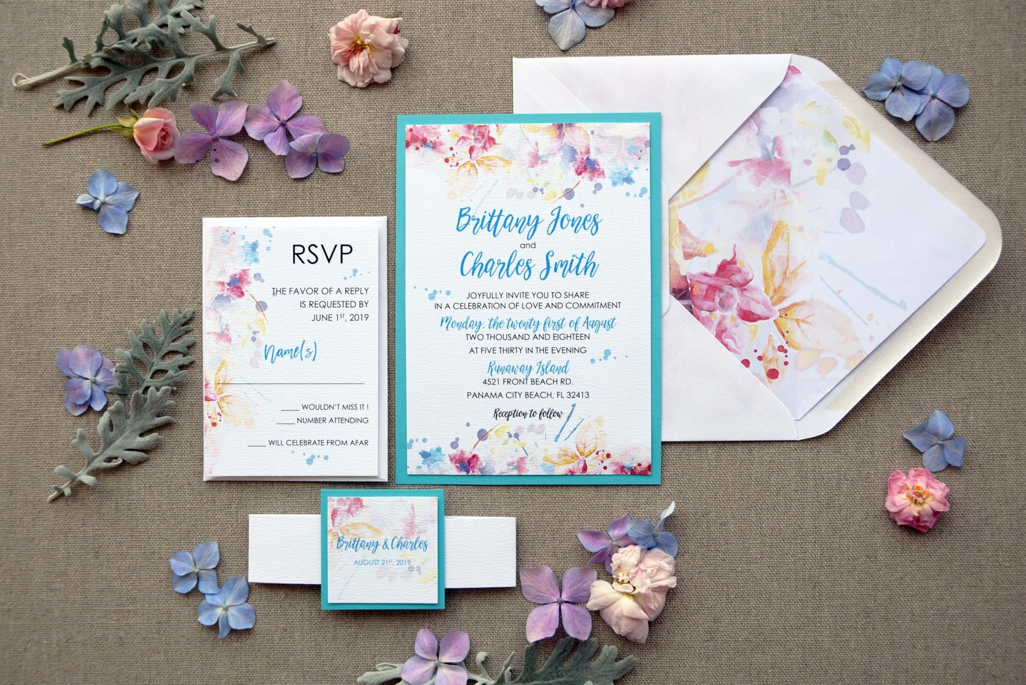 Watercolor Blue Invitations