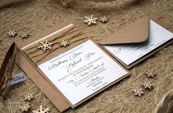 Snowflake Wedding Invitations Winter