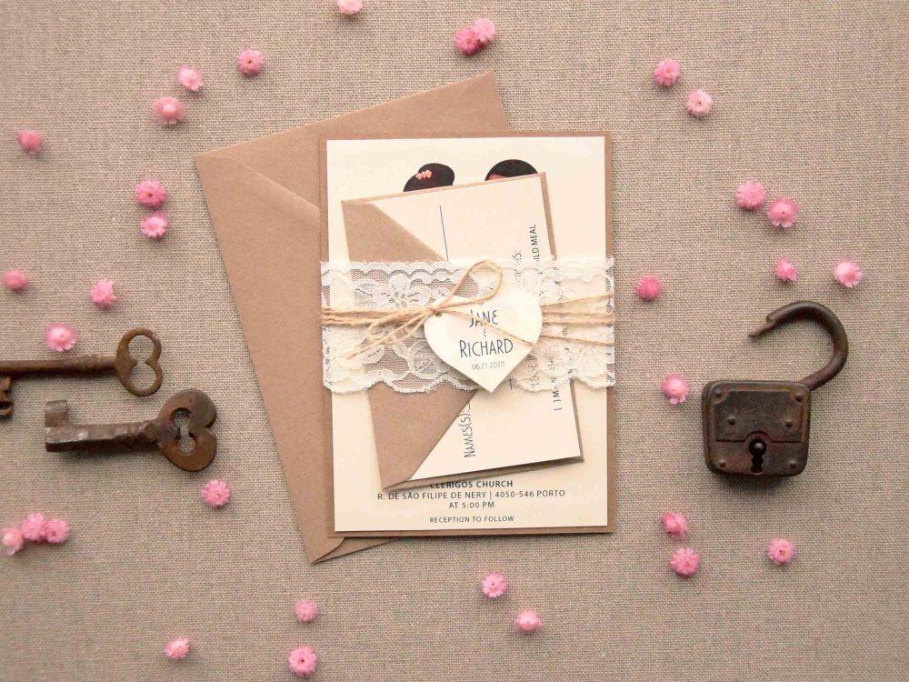 Lace Portrait Marriage Invitations